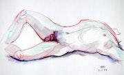 Male Nude, Akt #3716 (1994), aquarellierte Zeichnung. Hajo Horstmann