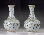 Pairs qing dynasty famille rose flask vases with butterfly #p2836. Art