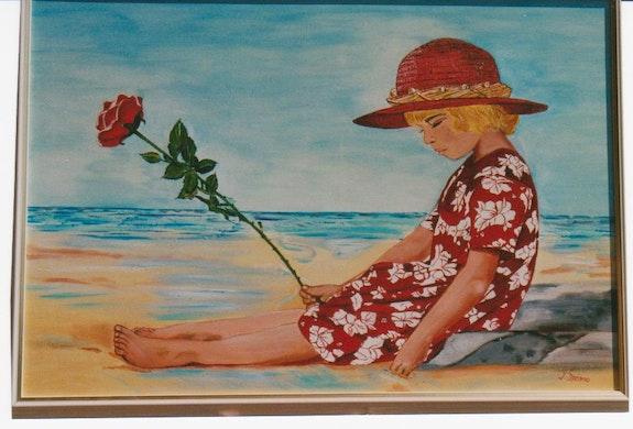 Fillette à la rose sur la plage. Jean Dreano Jean Dreano