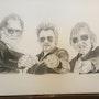Trois petits vieux. Gaby Artiste Peintre