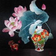 Lotus handmade silk embroidery art painting.