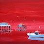 Tableau peinture marine, ciel de feu cabanes de l'île aux oiseaux, arcachon. Anne-Marie Picot Artist