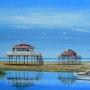 Tableau peinture marine, ile aux oiseaux, bassin d'arachon. Anne-Marie Picot Artist